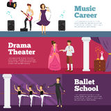 Theatre People Banners Set. With ballet school and music career flat isolated vector illustration Royalty Free Stock Images