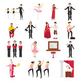 Theatre People Set. Theater people set with drama and ballet symbols flat isolated vector illustration Royalty Free Stock Photos