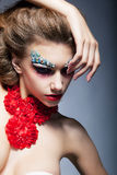 Theatre. Performance. Fashion woman. Bright makeup Royalty Free Stock Photo