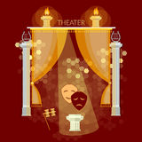 Theatre performance vintage theater stage curtain Royalty Free Stock Photos