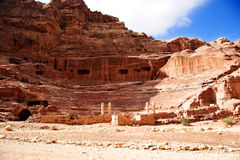 Theatre at Petra, Jordan. Famous landmark stock photo