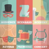 Theatre Poster Mini Set. With audience scenario scenery actors premiere concert isolated vector illustration Royalty Free Stock Image