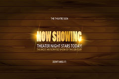 Theatre premiere poster design. Vector template banner on wooden background Stock Image