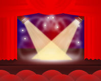 Theatre with red curtains spotlights Royalty Free Stock Image