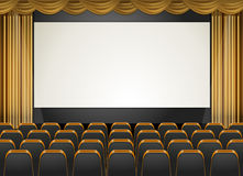 Theatre scene with screen and seats Stock Image