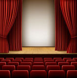 Theatre Scene. A theater stage with red curtain and red seats, EPS 10 contains transparency and mesh Stock Images