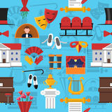 Theatre Seamless Pattern. With stage and performance symbols on blue background flat vector illustration Stock Images