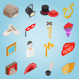Theatre set icons, isometric 3d style Stock Image