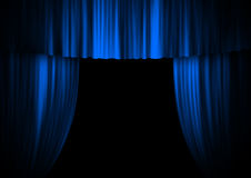 Theatre stage curtain. Blue theatre stage curtain opening Stock Photos