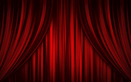 Theatre stage curtain. Deep red theatre stage curtain made with computer