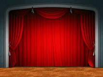 Theatre stage curtain. Deep red theatre stage curtain made with computer Stock Photography