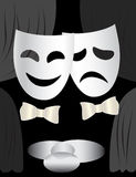 Theatre stage & masks. Black and white background with theatre stage, curtains and masks Royalty Free Stock Images