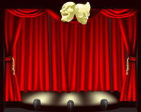 Theatre stage with masks. Theatre stage with curtains, footlights, and comedy and tragedy masks Royalty Free Stock Images