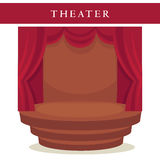Theatre stage with red curtains and stairs emblem isolated Royalty Free Stock Photography