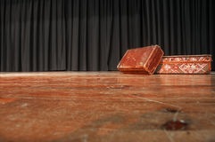 Theatre Stage. On the stage there are two  suitcases. Stock Photo