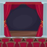 Theatre stage with red velvet curtains and spectator room. Theatre stage with traditional red velvet curtains, wooden parquet floor and spectator room full of Stock Image