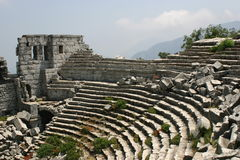 Theatre of thermessos. Antique theatre of thermessos - antalya - turkiye Royalty Free Stock Photo