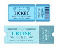 Theatre Ticket Cruise Coupon Vector Illustrations. Theatre ticket cruise coupon set of vector illustrations pass admissions to entertainment and travelling event Royalty Free Stock Photography
