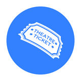 Theatre ticket icon in black style isolated on white background. Theater symbol stock vector illustration Stock Images