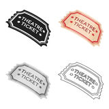 Theatre ticket icon in cartoon style isolated on white background. Theater symbol stock vector illustration. Theatre ticket icon in cartoon style isolated on Royalty Free Stock Images