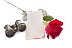 Theatre tickets. And red rose isolated on white Royalty Free Stock Image