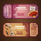 Theatre Tickets Banners Set Royalty Free Stock Photos