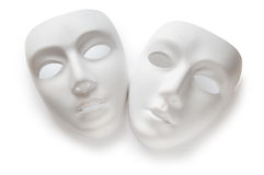 Theatrebegrepp - vita maskeringar Royaltyfria Bilder