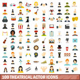 100 theatrical actor icons set, flat style. 100 theatrical actor icons set in flat style for any design vector illustration Stock Images