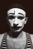 Theatrical actor. Portrait of a theatrical actor with a mime  make-up on his face Royalty Free Stock Images
