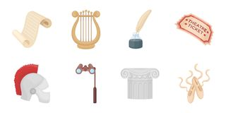 Theatrical art icons in set collection for design.Theater equipment and accessories vector symbol stock web illustration Stock Photography