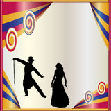 Theatrical Background. Background illustration with a stage and debonair dancers Royalty Free Stock Photos