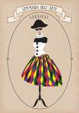 Theatrical costume, commedia dell'arte, Harlequina.vector illustration Stock Photo