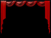 Theatrical Curtain. A theatrical curtain on black background Royalty Free Stock Photo