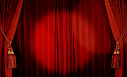 Theatrical curtain. Of red color stock photography
