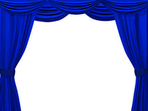 Theatrical curtain of blue color Royalty Free Stock Images