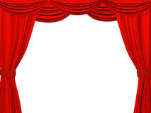 Theatrical curtain of red color Royalty Free Stock Photos