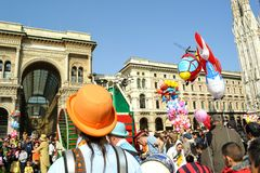 Theatrical entertainment in Duomo square during Carnival celebration. Royalty Free Stock Photo