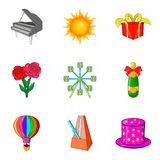 Theatrical evening icons set, cartoon style Royalty Free Stock Photos