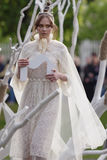 Theatrical fashion show in Catherine park, Pushkin, St. Petersburg, Russia. St. Petersburg, Russia - June 24, 2017: Theatrical fashion show of Leonid Alexeev stock photos