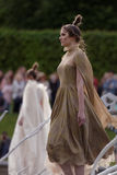 Theatrical fashion show in Catherine park, Pushkin, St. Petersburg, Russia. St. Petersburg, Russia - June 24, 2017: Theatrical fashion show of Leonid Alexeev royalty free stock photos