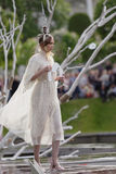 Theatrical fashion show in Catherine park, Pushkin, St. Petersburg, Russia. St. Petersburg, Russia - June 24, 2017: Theatrical fashion show of Leonid Alexeev royalty free stock photography