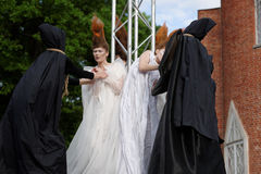 Theatrical fashion show in Catherine park, Pushkin, St. Petersburg, Russia. St. Petersburg, Russia - June 24, 2017: Theatrical fashion show of Lilia Kisselenko royalty free stock photo