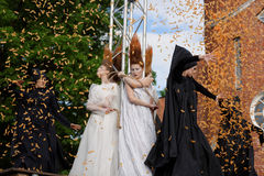 Theatrical fashion show in Catherine park, Pushkin, St. Petersburg, Russia. St. Petersburg, Russia - June 24, 2017: Theatrical fashion show of Lilia Kisselenko stock photos