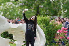 Theatrical fashion show in Catherine park, Pushkin, St. Petersburg, Russia. St. Petersburg, Russia - June 24, 2017: Theatrical fashion show of Tatiana Parfionova stock photos