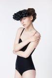 Theatrical glamour - sensual woman black wreath Royalty Free Stock Photo