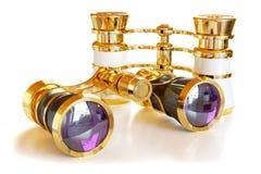 Theatrical golden binoculars Royalty Free Stock Image