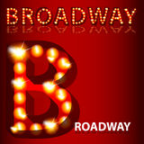 Theatrical Lights Broadway Text. An image of a theatrical lights 3D Broadway text Stock Photos