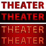 Theatrical Lights Theater Text. An image of a theatrical lights 3D theater text Royalty Free Stock Images