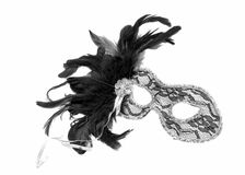 Theatrical mask with black feathers Royalty Free Stock Images