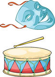 Theatrical mask and drum Stock Image